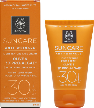 Слънцезащитен противобръчков крем , Apivita Suncare Anti-Wrinkle Face Cream Olive & 3D Pro-Algae SPF30 50ml