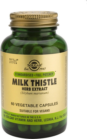 Хранителна добавка  Екстракт Бял трън , Solgar Milk Thistle Herb & Seed Extract , 60 Vegetable Capsules