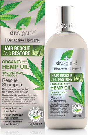 Шампоан с био конопено масло за косопад, Dr.Organic Hemp Oil Rescue Shampoo 265ml