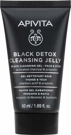Почистващ детокс гел с активен въглен и прополис  , Apivita Black Detox Cleansing Jelly 75ml With Activated Carbon & Propolis