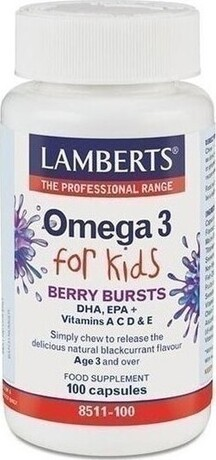 Хранителна добавка Омега3  за деца 3г+ , Lamberts Omega 3 For Kids 100 Caps