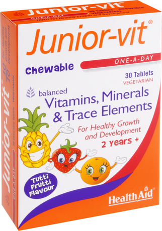 Мултивитамини за деца , дъвчащи 2г+ , Health Aid Junior-Vit Children's 30 Chewable Tabs Multivitamin