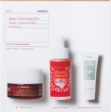 Промо сет Дива роза нощен  крем  + бустер + измиваща пяна , Korres Wild Rose Vitamin C Advance Repair Night Cream 40ml + Bi-Phase Booster 15% Vitamin C 30ml + Olympus Tea Cleansing Foaming Cream 16ml