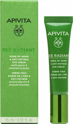 Околоочен крем против стареене и признаци на умора , Apivita Bee Radiant Signs Of Aging & Anti-Fatigue Eye Cream White Peony & Propolis 15ml