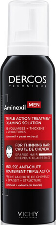Пяна с тройно действие срещу косопад, Vichy Dercos Aminexil Men Triple Action Treatment Foaming Solution 150ml