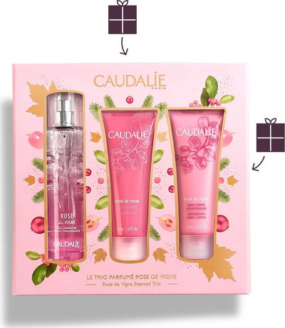Промо сет Rose de Vigne парфюм&душ-гел&лосион, Caudalie Rose de Vigne Fresh Fragrance 50ml, Shower Gel 50ml & Body Lotion 50ml
