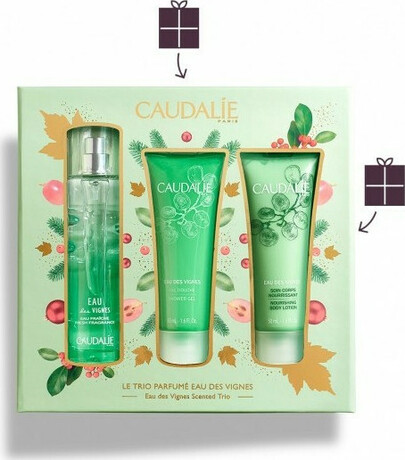 Промо сет парфюм+душ гел + крем за тяло, Caudalie Eau de Vignes Scented Trio Fresh Fragrance 50ml & Body Lotion 50ml & Shower Gel 50ml