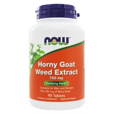 НАУ ФУДС ХОРНИ ТАБЛ. 750 МГ. * 90/ NOW HORNY GOAT WEED EXTRACT 750 MG, 90 TABS