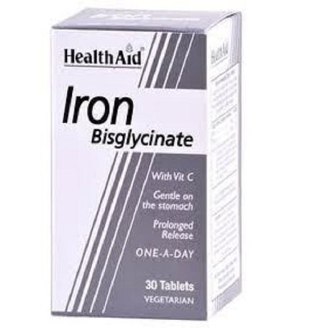 ХЕЛТ ЕЙД ЖЕЛЯЗО БИСГЛЮКОНАТ 30МГ 30ТБ / HEALTH AID IRON BYSGLYCINATE 30TABS