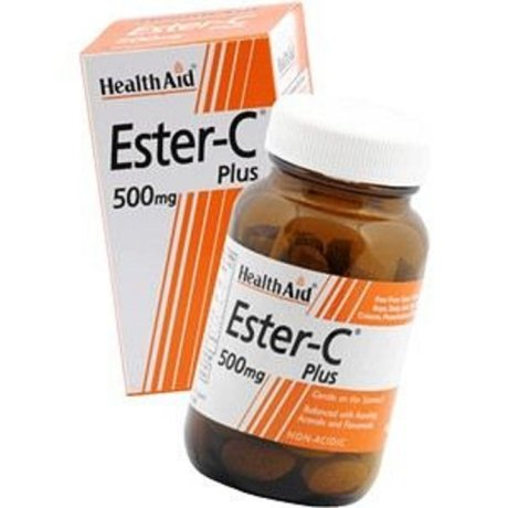 ХЕЛТ ЕЙД ЕСТЕР ВИТАМИН Ц ПЛЮС 500 МГР 60 ТАБЛЕТКИ / HEALTH AID ESTER C 500MG TABLETS 60S