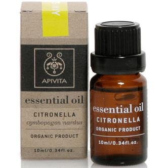 100% биологично етерично маслоЦитронела , Apivita Essential Oil Citronella 10ml