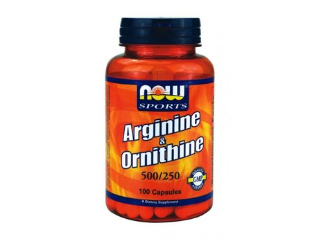 НАУ ФУДС АРГИНИН 500 МГ. ОРНИТИН 250 МГ. КАПС.  100/NOW SPORTS ARGININE & ORNITHINE 500/250 MG, 100 CAPS