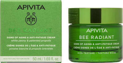 Крем против стареене и признаци на умора за суха кожа , Apivita Bee Radiant White Peony & Patented Propolis Signs of Aging & Anti-Fatigue Cream Rich Texture, 50ml