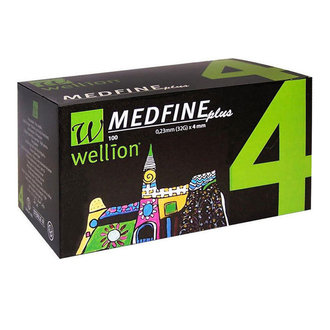 ВЕЛИОН ИГЛИ 32G x 4mm 100 БР.  / WELLION MEDFINE 32G x 4mm *100