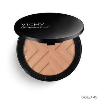 ВИШИ КОМПАКТНА ПУДРА DERMABLEND COVERMATTE SPF25  / VICHY DERMABLEND COVERMATTE ЗЛАТО  SPF25 9.50гр COMPACT POWDER FOUNDATION GOLD 45 9.5GR