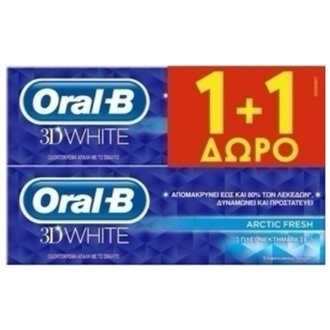 ОРАЛ Б ПАСТА ЗА ЗЪБИ 3D WHITE ARCTIC FRESH 2*75ml/ ORAL-B 3D WHITE ARCTIC FRESH 2*75ml