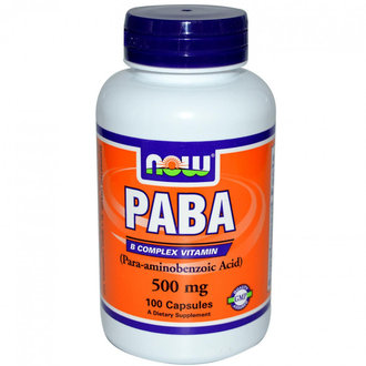 НАУ ФУДС ПАРААМИНОБЕНЗОЕНА КИСЕЛИНА КАПС. 500 МГ. * 100 / NOW PABA (PARA-AMINOBENZOIC ACID) 500MG, 100 CAPS