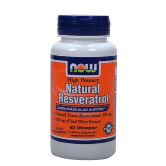 НАУ ФУДС НАТУРАЛ РЕСВЕРАТРОЛ КАПС.  60/NOW NATURAL RESVERATROL WITH RED WINE & GREEN TEA EXTRACT 50MG, 60 VEG. CAPS